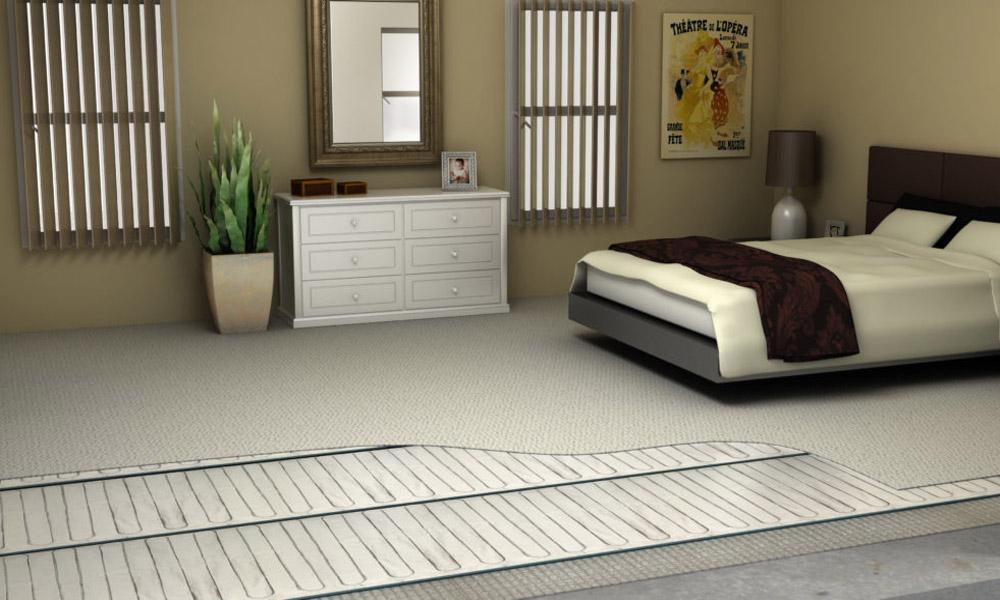 Chambre à coucher avec plancher chauffant