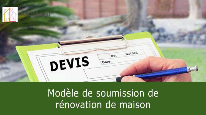 Modèle de soumission de rénovation de maison