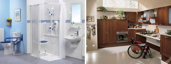Salle de bain et cuisine pour personne âgée